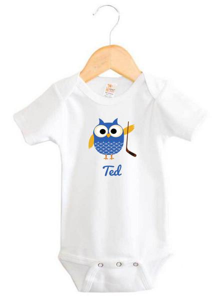 Baby Name Hockey Owl Onesie Personalised Products Word On