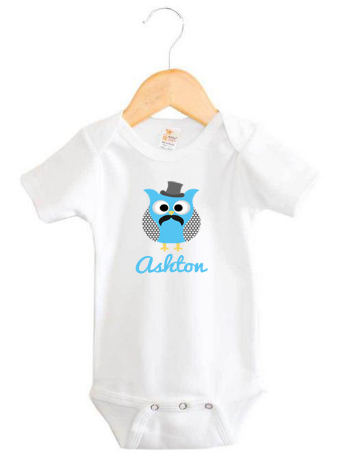 59321d851 Mustache & Top Hat Owl Baby Name Onesie | Personalised Products ...