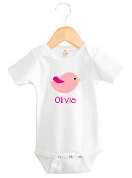 Personalised Girl's Pink Chevron Bird Onesie