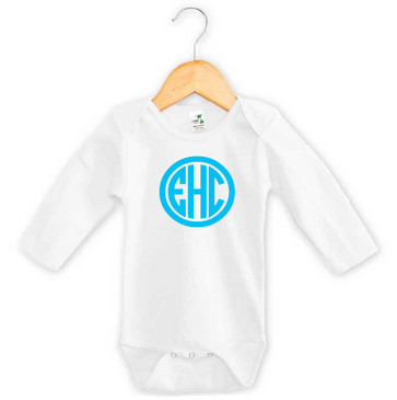 Baby Blue 3 Initial Monogram Long Sleeve Onesie