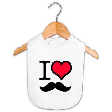 I Heart Moustache Baby Bib