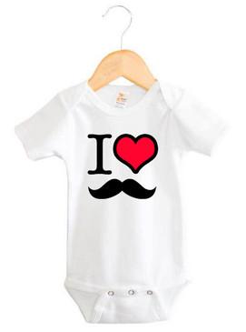 I Heart Moustache Baby Onesie