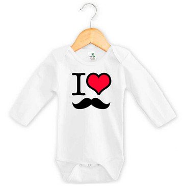 I Heart Moustache Long Sleeve Baby Onesie
