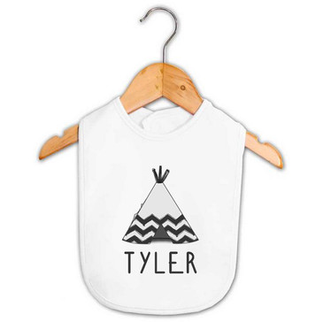 Aztec Teepee Personalised Name Baby Bib