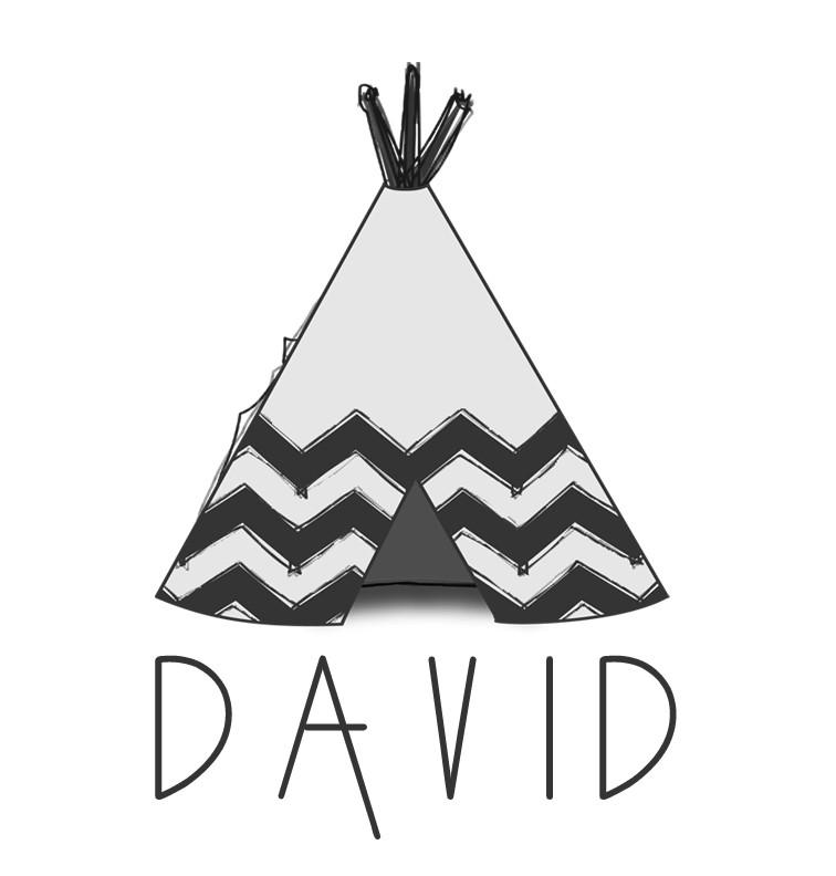 Teepee Baby Name Tee - David