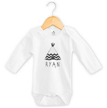 Aztec Teepee Name Long Sleeve Onesie