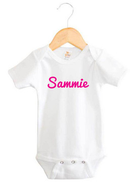 Personalised Pink Cursive Name Baby Girl Onesie