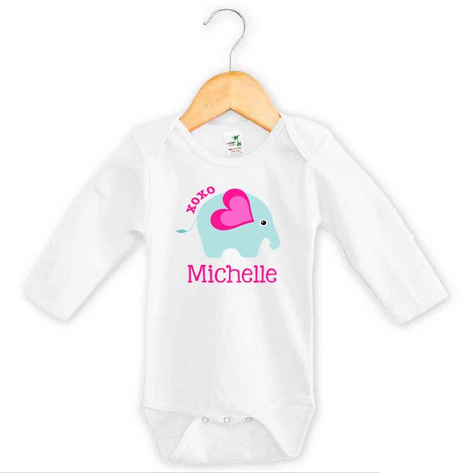 eef47261b Baby Girl Name XOXO Elephant Onesie