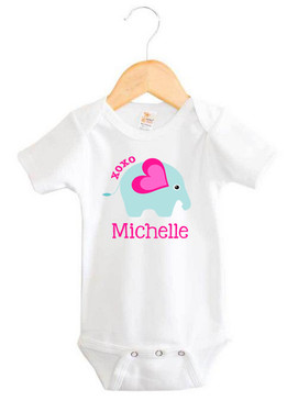 Baby Girl Name XOXO Elephant Onesie