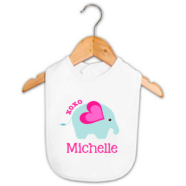 Baby Girl Name XOXO Elephant Bib