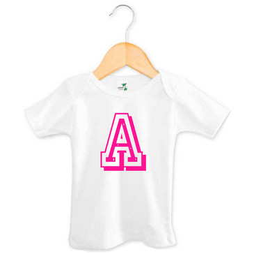 Personalised Initial Pink Varsity Letter Baby Tee