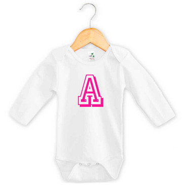 Personalised Pink Varsity Letter Baby Long Sleeve Onesie