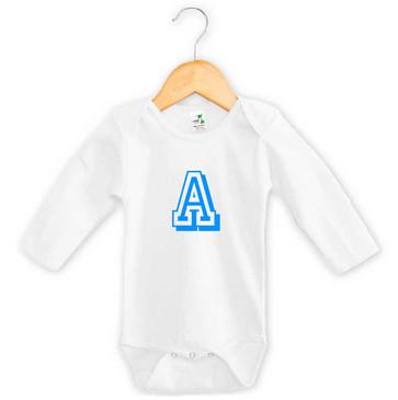 Personalised Blue Varsity Letter Baby Long Sleeve Onesie