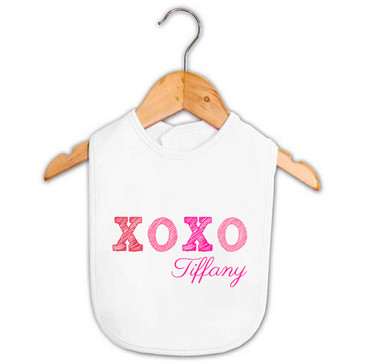 Personalised Baby Girl Name XOXO Kiss Hug Bib