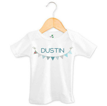 Personalised Boy's Name Blue Bunting Baby Tee
