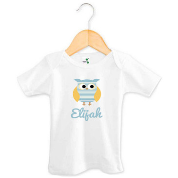 Personalised Boy's Name Blue Striped Owl Tee