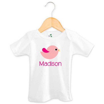 Personalised Girl's Pink Chevron Bird Tee