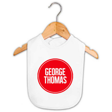 Personalised Baby Name Red Circle Bib