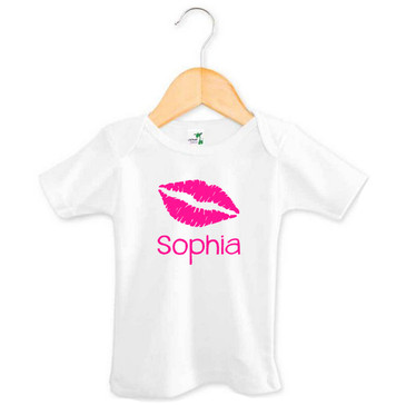 Personalised Pink Lips Baby Girl Name Tee