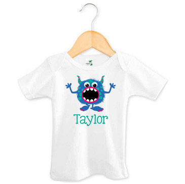Blue & Green Monster Baby Name Tee