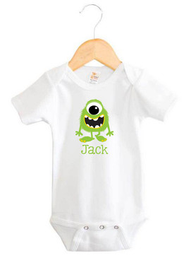 Personalised Green Monster Baby Name Onesie