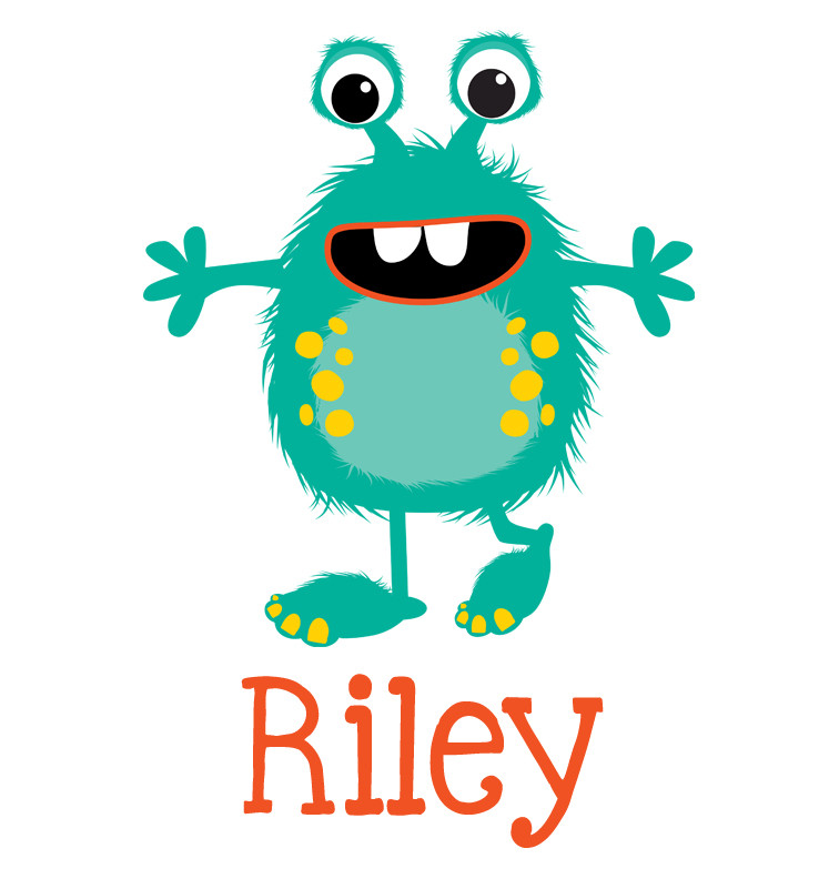 Teal Green Monster Baby Name Bib Personalised Products