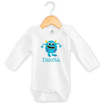 Blue Monster Baby Name Long Sleeve Onesie