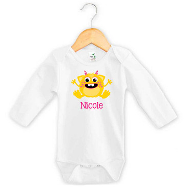 Yellow & Pink Monster Baby Name Long Sleeve Onesie