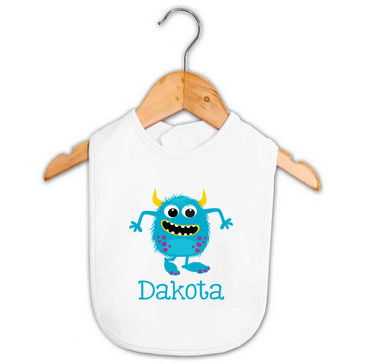 Blue Monster Baby Name Bib