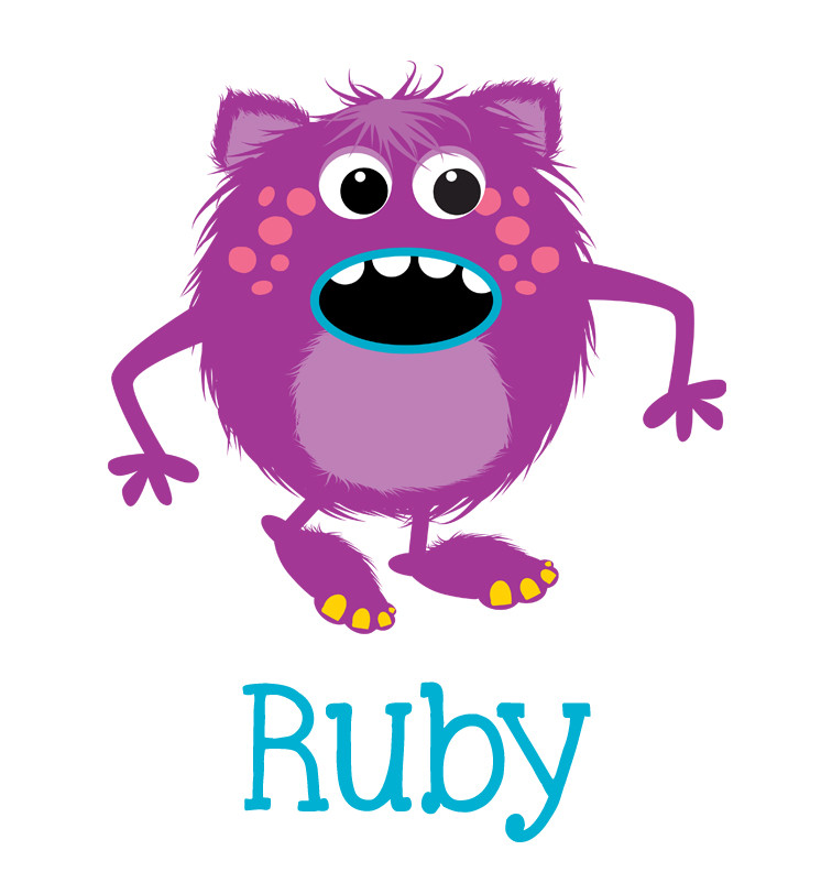 Purple Monster Baby Name T Shirt Personalised Products