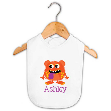 Orange & Purple Monster Baby Name Bib
