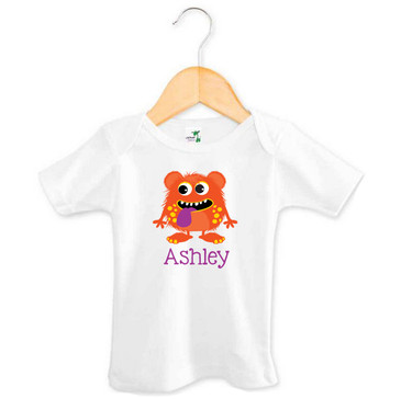 Orange & Purple Monster Baby Name Tee