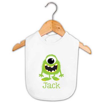 Personalised Green Monster Baby Name Bib