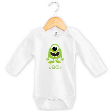 Green Monster Baby Name Long Sleeve Onesie