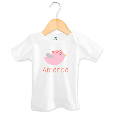 Personalised Girl's Pink & Coral Bird Tee