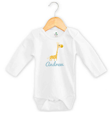 Personalised Baby Name Giraffe Long Sleeve Onesie
