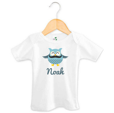 Personalised Boy's Blue Moustache Owl Baby Tee