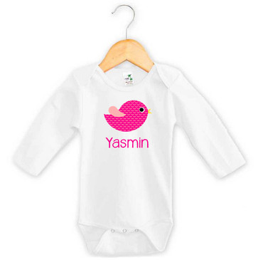 Personalised Girl's Name Pink Bird Long Onesie