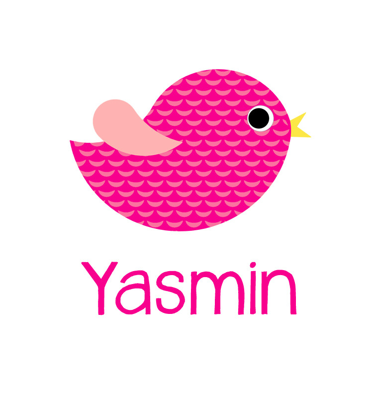 Pink Bird Baby Name Tee Personalised Baby Products