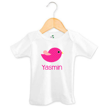 Personalised Girl's Name Pink Bird Tee
