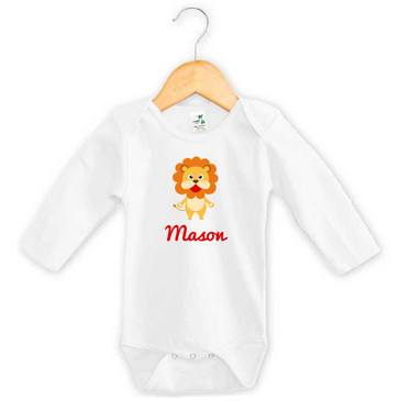 Personalised Lion Baby Name Long Sleeve Onesie