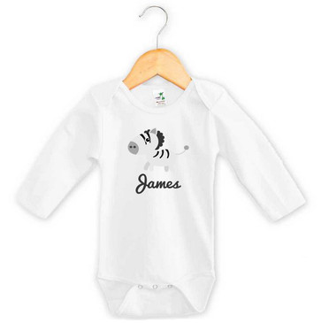 Long Sleeve Zebra Baby Name Onesie