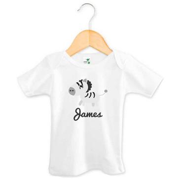 Zebra Short Sleeve Baby Name Tee