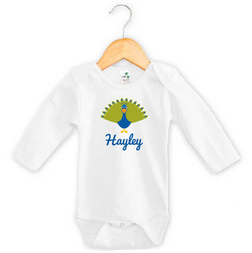 Baby Name Peacock Long Sleeve Onesie
