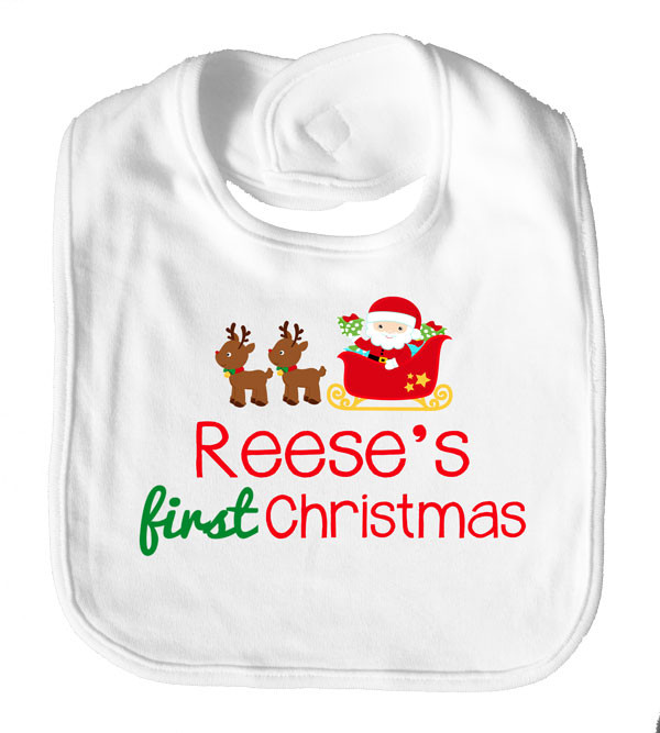 First Christmas with Name Personalised Baby Bib