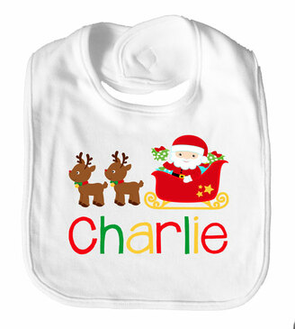 Christmas Santa Sleigh Personalised Name Bib