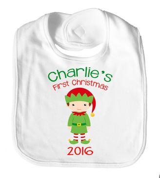 Personalised Name Bib - First Christmas Elf