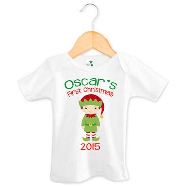 Baby Name First Christmas 2015 Elf Tee - Oscar