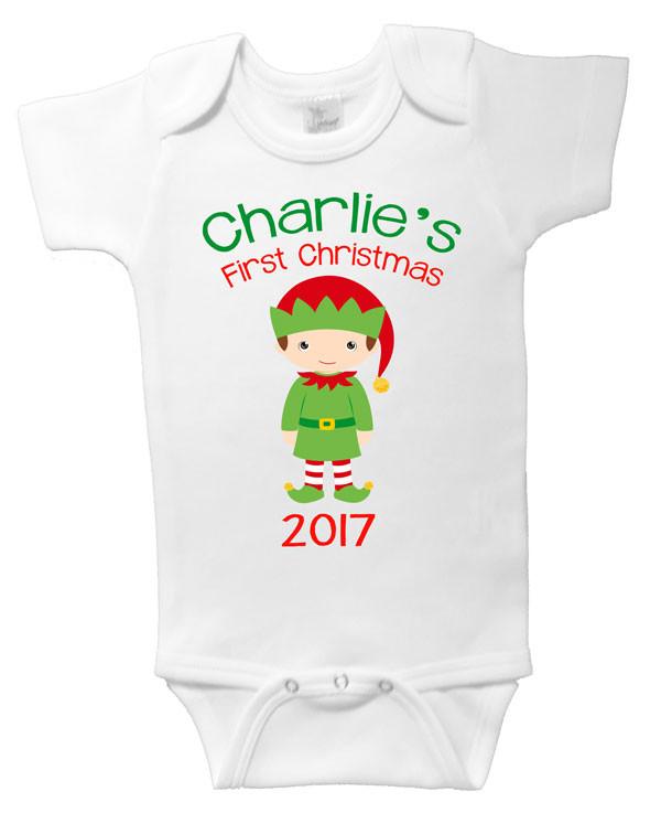 13ec548c7 Personalised First Christmas Elf Onesie