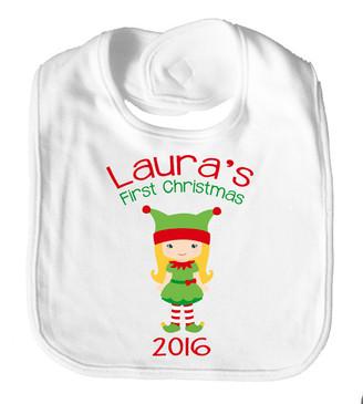 Personalise Bib - Name  First Christmas Girl Elf 2016